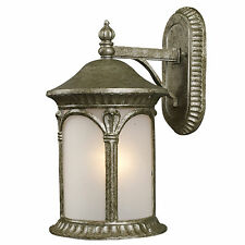 Antique Silver And White Seedy Glass Exterior Wall Light Fixture