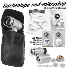 Mini Mikroskop 60x Taschenmikroskop LED UV Lampe Juwelierlupe Taschenlupe