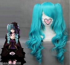 New VOCALOID-Hatsune Miku Blue Anime Cosplay Wavy Wig + 2 Clip On Ponytail