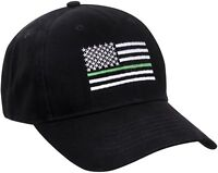 Black Thin Green Line US American Flag Support Federal Agents Baseball Cap Hat