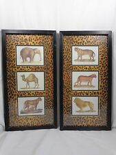"Safari Animal Art Print Picture 2 Pc Framed 21"" x 11"" Lion Panther Tiger Camel"