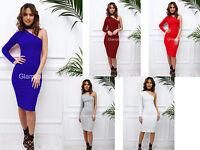 Glamzam New Womens Ladies One Shoulder Long Sleeve Pencil Midi Bodycon Dress
