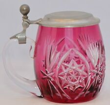 Vintage Cut Crystal German Beer Stein with Pewter lid. Exquisitely cut cranberry