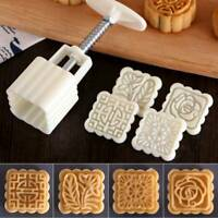 4Pcs Stamps Square Flowers Moon Cake Mold Pastry Mooncake Baking Decorative Tool