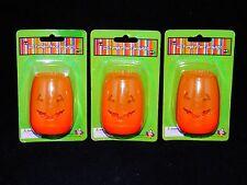 3 pc set Orange Halloween Jack-O-Lantern Led Tea Pumpkin Battery Light - Nip