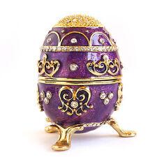 Purple Vintage Style Faberge Egg with Gold Finish, Rhinestones, Trinket Box