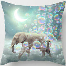 Elephant in a Sky of Bubbles Retro Design Linen Square Pillow Cushion Cover.