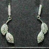 Gorgeous White Moissanite Earrings Leaf Drop Dangle Women Wedding Jewelry Gift