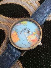 FREE GIFT BAG Faux Blue Denim Strap Ladies Men's World Map Plane Travel Watch