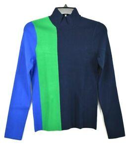 Tory Burch Sport Womens Tech Knit Colorblock Turtleneck Soft Long Sleeves S $248