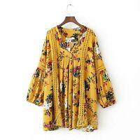 Boho Chic Gypsy Womens Floral Stitching Printing Mini Dress Tunic Blouse Top S-L