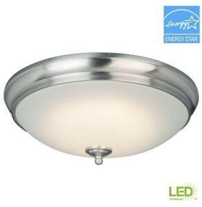 Commercial Electric 13 in. Brushed Nickel LED Flush Mount with White Glass Shade