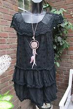 Summer Mini Dress Layered Look Hippie Ibiza Embroidery Crochet Black Valance