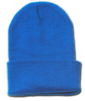 Plain Blank Long Beanie Cap Hat - Royal Blue