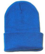 Plain Blank Long Beanie Cap Hat - Royal Blue