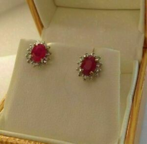 4Ct Oval Cut Red Ruby Diamond Halo Push Back Stud Earrings 14K White Gold Finish