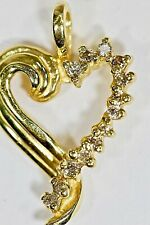 REAL 14kt Yellow Gold Diamond Heart Pendant Gorgeous Dainty Fine Quality Bridal