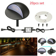 2 Sets of 10 Warm White 50mm 12V Semilunar Fence Post Lamp Stair LED Deck Lights