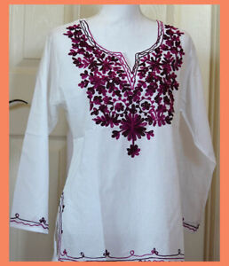 Wine Color Embroidered Flowers White Color Cotton Tunic Top Kurti from India L