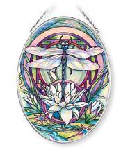 "MYSTERY DRAGONFLY AMIA STAINED GLASS SUNCATCHER 5.5"" X 7"" OVAL   42662"