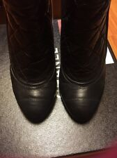 AUTHENTIC CHANEL matelasse LEATHER SHORT BOOTS Heels 38 BLACK IN BOX