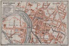 Montauban antique ville city plan de la ville. tarn-et-garonne carte 1907 carte