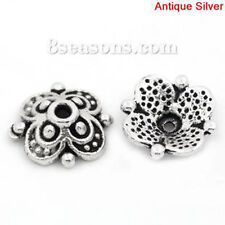 Zinc Based Alloy Beads Caps Flower Antique Silver (Fits 12mm-14mm Beads) 10mm