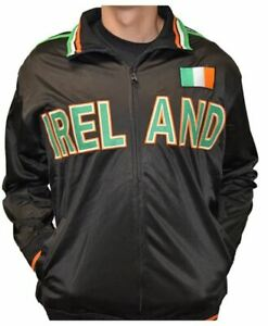 Ireland Zip Up Mens Black Track Jacket Embroidered Lettering and Irish Flag