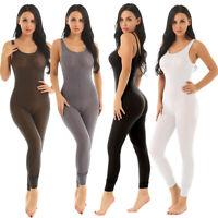 Women See Through Bodysuit Romper Tank Top Stretch Sleeveless Jumpsuit Catsuit