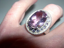 Showy Sterling Silver~Amethyst~Tanzanite Large Oval Framed Ring~6.5CTS~Sz 7~8G