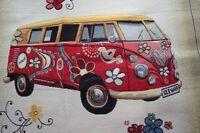 Dekostoff , Gobellinstoff Bus, Bulli, Blumen rot 48 x 144 cm I