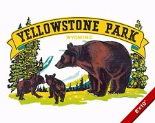 VINTAGE YELLOWSTONE BEARS NATIONAL PARK TRAVEL AD POSTER ART REAL CANVAS PRINT