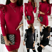 US Women's Beaded Long Sleeve Bodycon Dress Ladies Soild Jumper Sweater Dresses