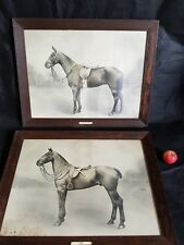 Antique Pair of Tom Reveley horse photos  paintings in original mahogany frames.