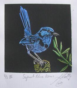 "LYNN KEATING AUSTRALIAN BLACK INK LINOCUT ""SUPERB BLUE WREN"" HAND COLOUR 2015"