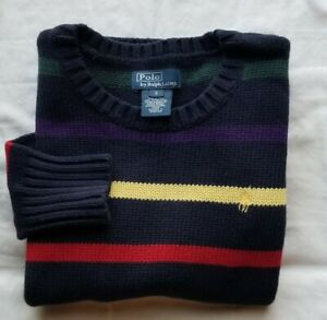 Youth's POLO RALPH LAUREN Pull-On Classic Fit Striped Crewneck Knit Sweater Sz S