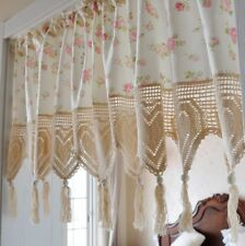 @Country Pink Rose Hand Crochet Heart Shape Lace Wood Bead Tassel Cotton Curtain