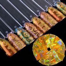 Autocollants de Foils d'Ongles Holographique Doré Étoiles Fleurs 16Pcs