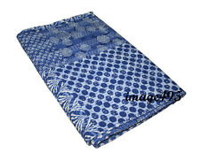 INDIAN COTTON KANTHA QUILT BLUE PATCHWORK BEDDING BLANKET THROW QUEEN GUDARI ART