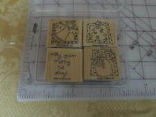 Stampin Up 4 pc  Very Merry 2003 wood mounted rubber stamp set Christmas