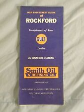 Vintage Gulf Rockford Illinois Street Map Guide Smith Oil Advertising 1950s?