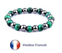 Bracelet En Pierre Semi Naturelle En Perle D'Oeil De Tigre De 8mm Couleur Vert