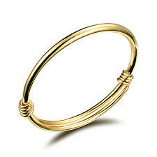 Simple  design Children/Baby Jewelry Bracelet Gold Cuff bangle adjustable Gifts