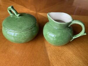 Vintage Mid Century Green Cream and Sugar Set 1953 Hobby Art Mary Gulason
