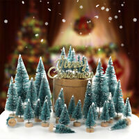 55Pcs Mini Sisal Christmas Trees Bottle Brush Snow Frost Village Pine Xmas Tree