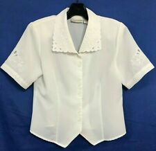 VTG CHRISTIE & JILL Flowy TAPERED Blouse/Top FLORAL/EYELET Button White Sz 4/P