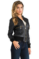 NWT Doma Leather Zip Up Bomber Moto Jacket Black Biker Womens Coat *L (M- S?
