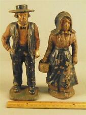 ANTIQUE PAINTED CAST IRON FIGURAL PAIR DOORSTOPS AMISH MAN & AMISH LADY