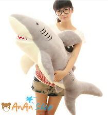 New 1m 39'' Big Cute Plush Great White Shark Soft Toy Hold Pillow Birthday Gift