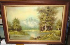 H.BAUER SNOW MOUNTAIN WILDERNESS LAKE OIL PAINTING